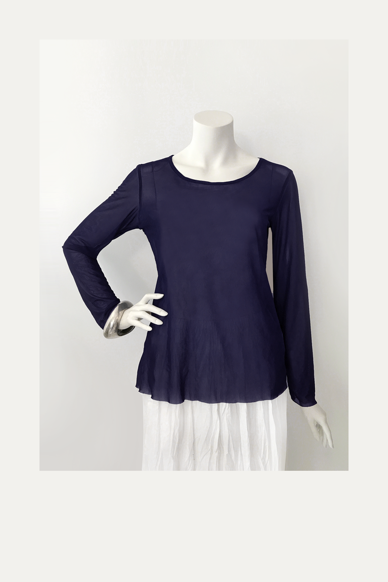 LUUKAA L/S Mesh Top in Navy Mesh