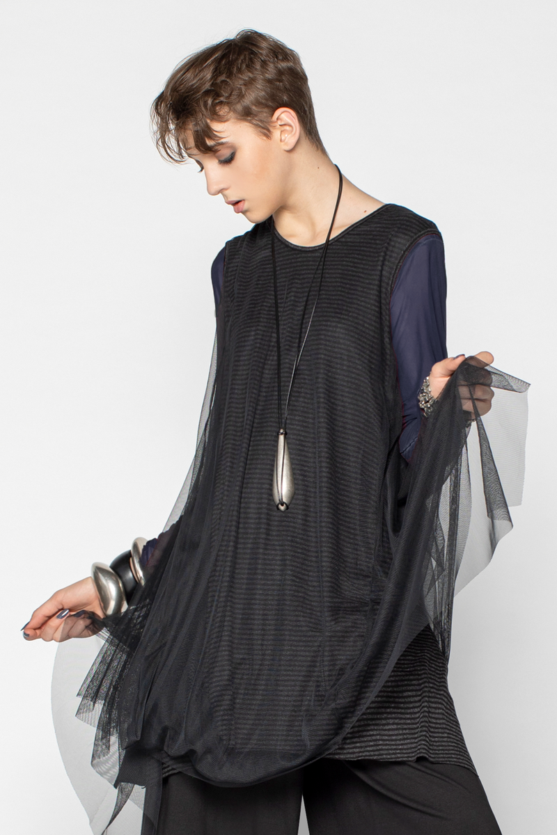 LUUKAA Venice Tunic in Black Mesh