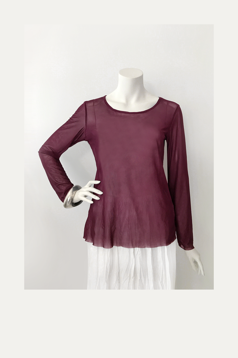 LUUKAA L/S Mesh Top in Burgundy Mesh