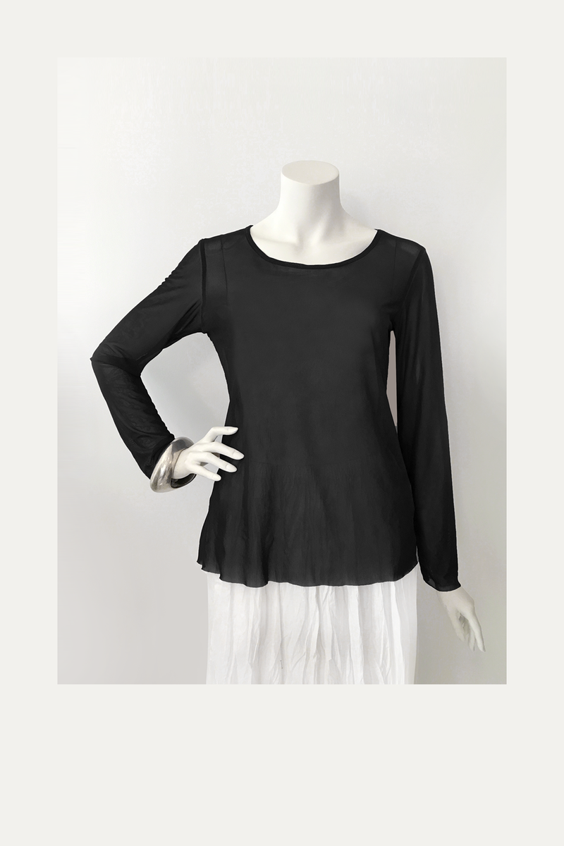 LUUKAA L/S Mesh Top in Black Mesh