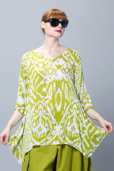 Susan Top in Lime Ikat Delphi