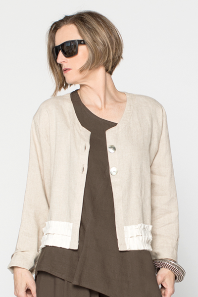 Ruffle Crop Jacket in Natural/Ivory Roma