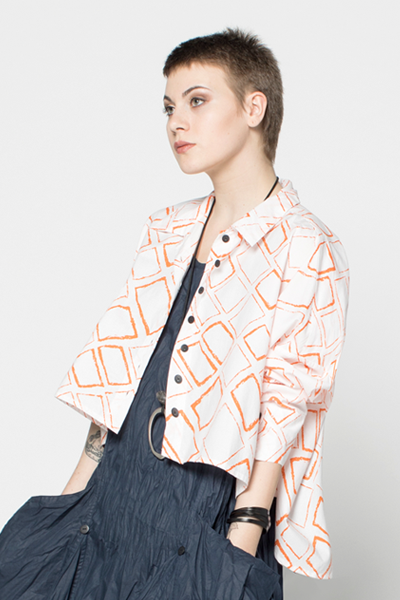 Selavie Shirt in Orange Carre Carnaby