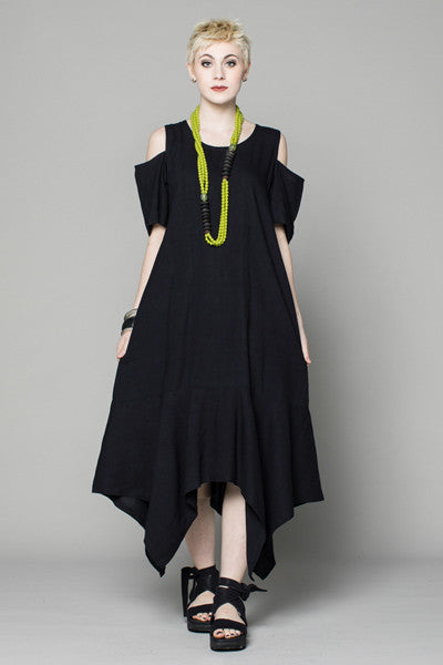 Cold Shoulder Dress in Black Papyrus