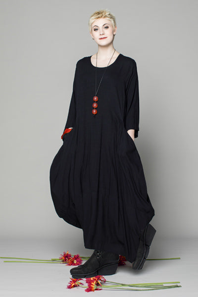 Odyssey Dress in Black Papyrus