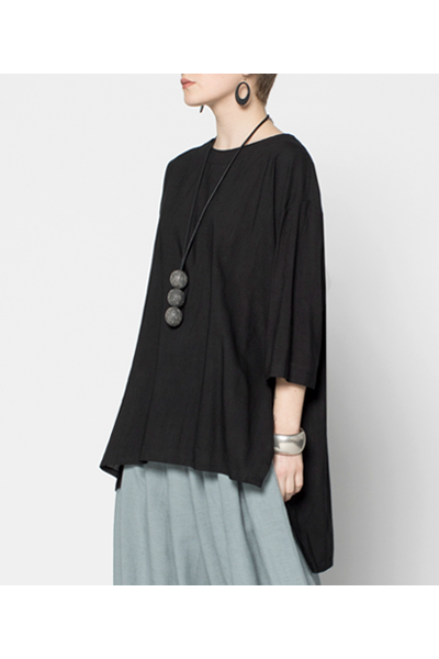 Longback Top in Black Papyrus