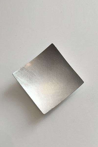 Square Brooch in Brushed Silver