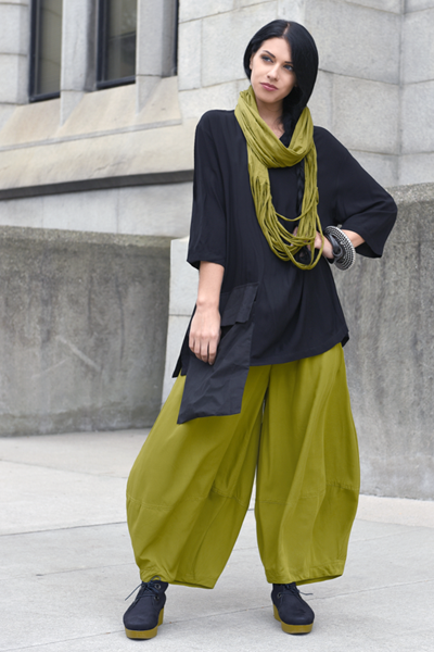 Shredded Circle Scarf in Green Chartreuse Tokyo