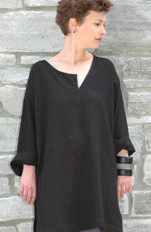 Split Neck Tunic in Black Papyrus