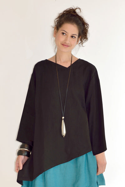 L/S Peking Top in Black Roma