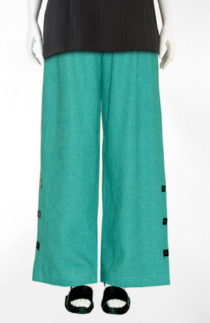Button Palazzo Pant in Seabreeze Roma