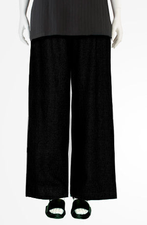 Extra Long Palazzo Pant in Black Papyrus
