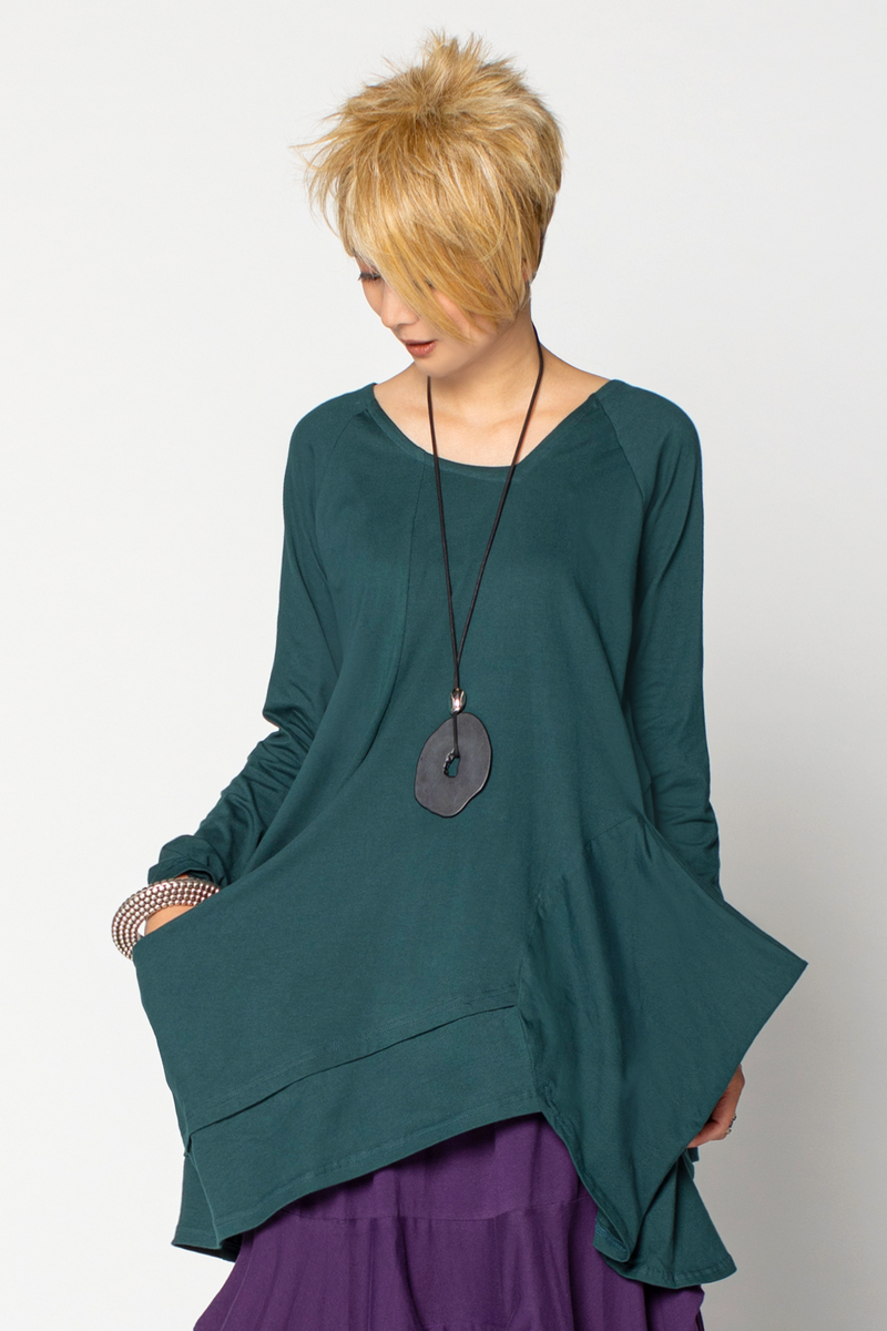 L/S Meteor Tunic in Teal Toyko