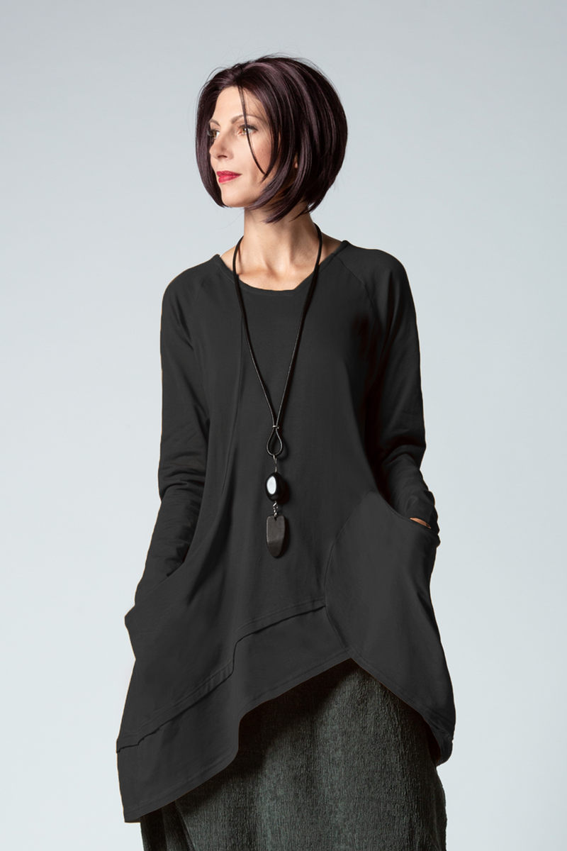 L/S Meteor Tunic in Black Toyko