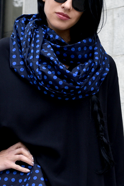 Carnaby Scarf in Black & Blue Polka Dots Carnaby