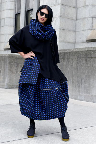 Sonoma Skirt in Black & Blue Polka Dots Carnaby
