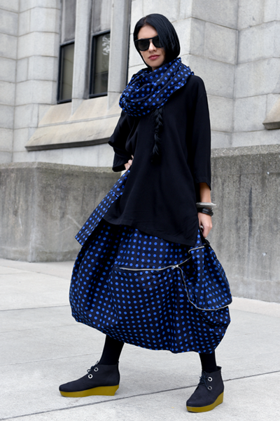 One Pocket Top in Black & Blue Polka Dots Carnaby