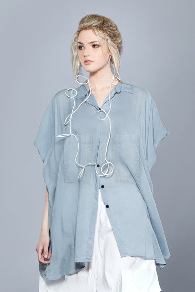 Naxos Shirt in Soft Blue Cotton Voile