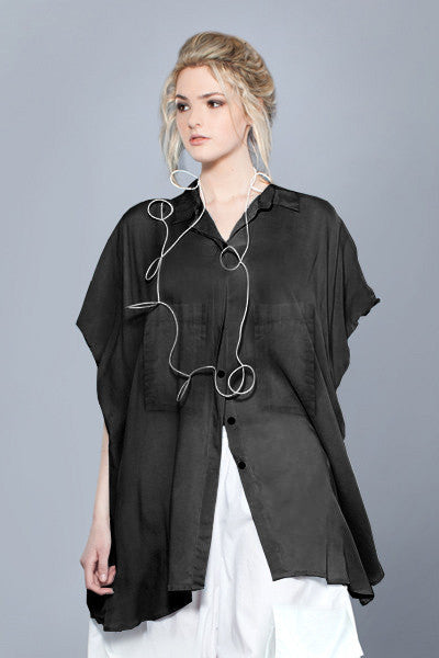 Naxos Shirt in Black Cotton Voile