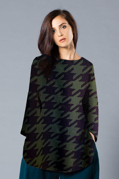 3/4 Basic Top in Houndstooth Roma