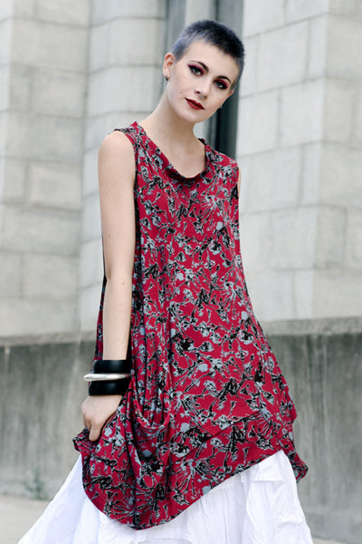 Meteor Tunic in Red Borago Print Boston