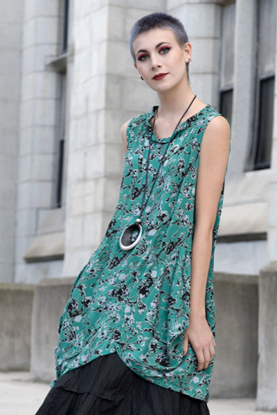Meteor Tunic in Green Borago Print Boston