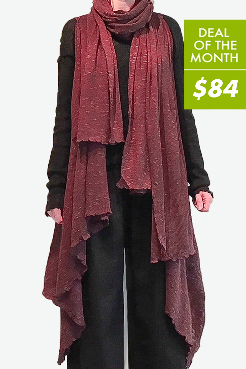 Wrap Vest and Scarf in Mulberry Sierra
