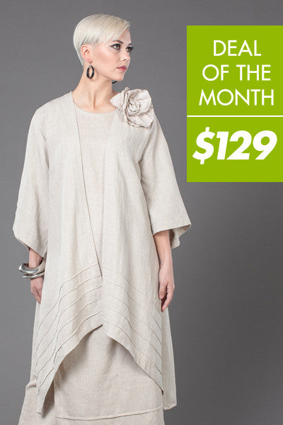 Stitch Long Kimono Jacket in Natural Roma