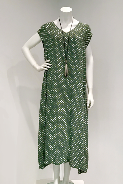 Izumi Dress in Green Dots Crinkle
