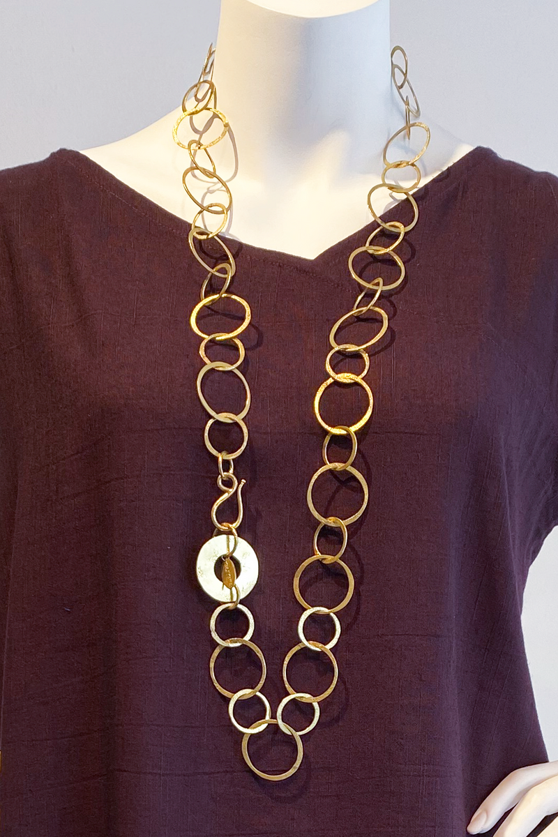 Circles Necklace in Brass Tone