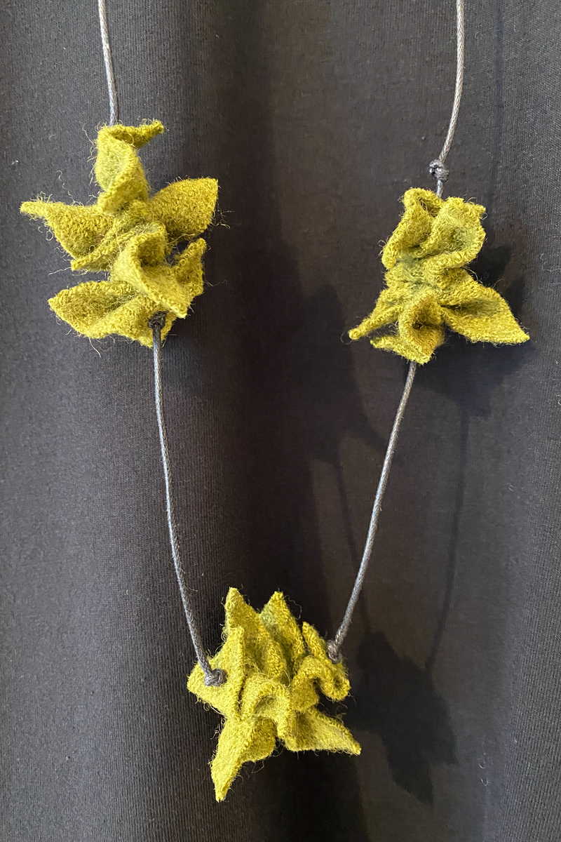 Origami Necklace in Chartreuse Felt
