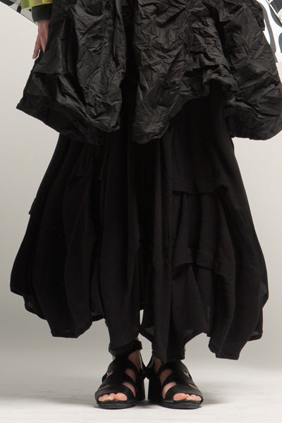 Manifold Skirt in Black Crinkle