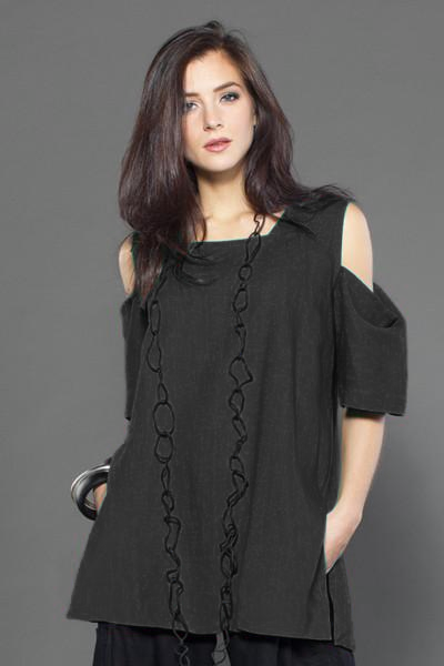 O.P.S. Top in Black Papyrus