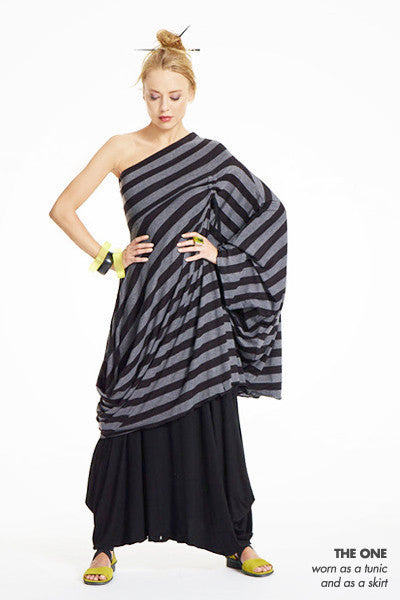 The Convertible One in Black/Grey Stripe Danube (Dress)