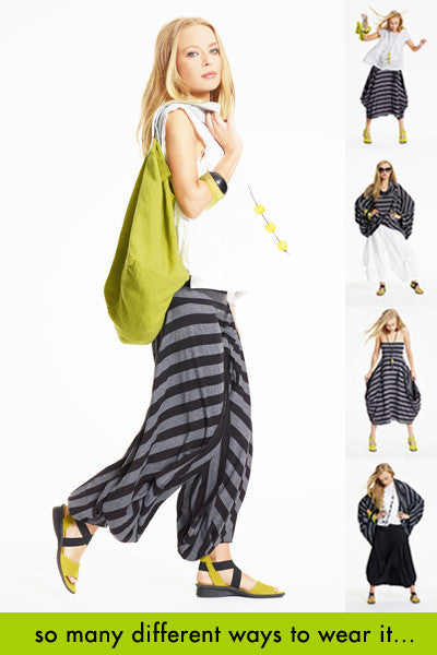 The Convertible One in Black/Grey Stripe Danube (Pant)