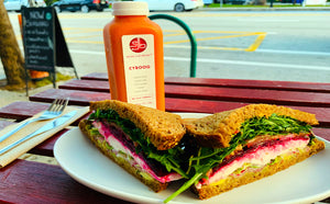 SpaJuiceBar Roasted Beet Sandwich and CYBOOG Juice