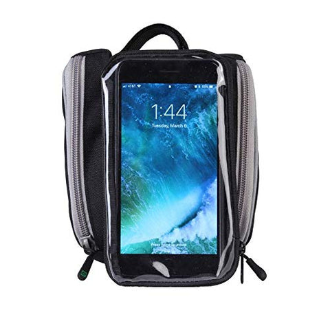 EVO Clutch Bike Double Phone Bag- Clear Touch Screen Cover - Fits Most 6 Inch Phones - Simple Velcro Attachment- Two Zipper Side Pockets