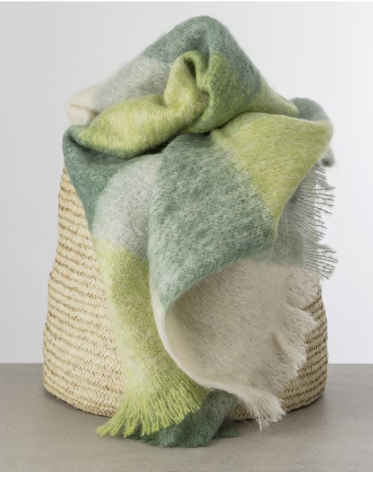 Irish Mohair Throw in Sea Glass