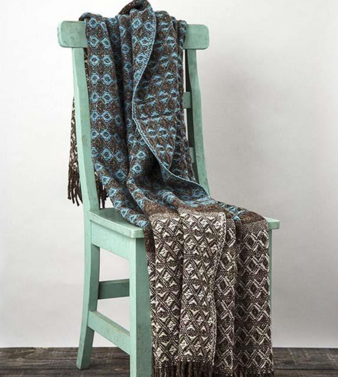 Irish Wool Throw in Cable Teal