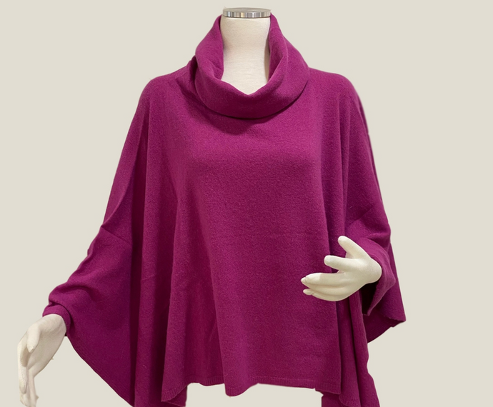 Italian Cashmere Cowl Poncho in Beach Rose