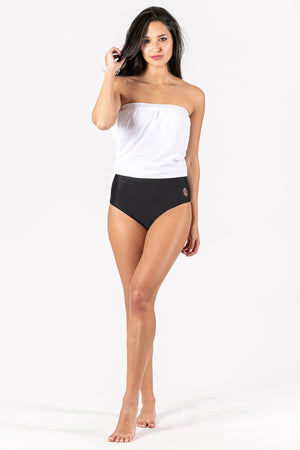 Women Strapless top swimswit with great support in its inner lining. Color combination in black and white. Sustainable Swimwear made from recycled plastics and bottles by BRISSUS