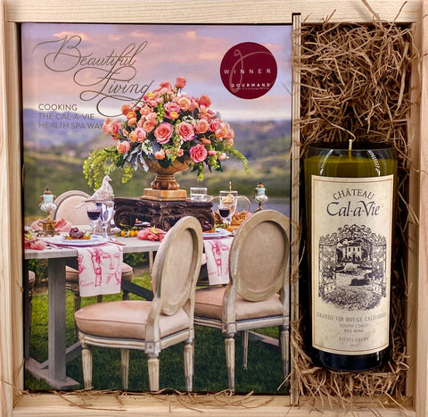 Beautiful Living Cookbook & Wine Candle Gift Set