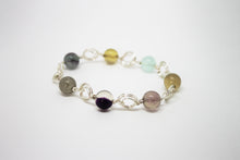 Load image into Gallery viewer, Silver plated bracelet with fluorite
