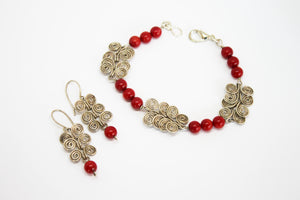Coral bracelet and earrings set silver plated