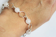 Load image into Gallery viewer, Silver plated bracelet pink jade