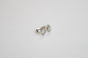Moonstone drop silver stud earrings