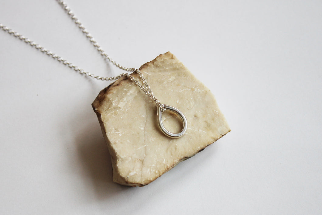 Drop silver pendant with necklace