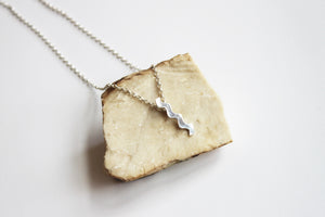 Waves silver pendant with necklace