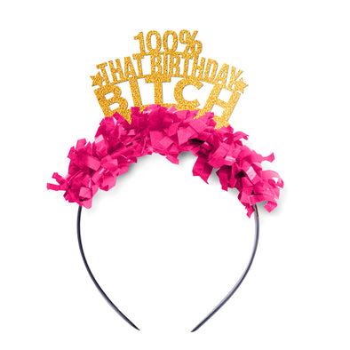"Gold glitter party crown with hot pink fringe saying ""100% That Birthday Bitch"""