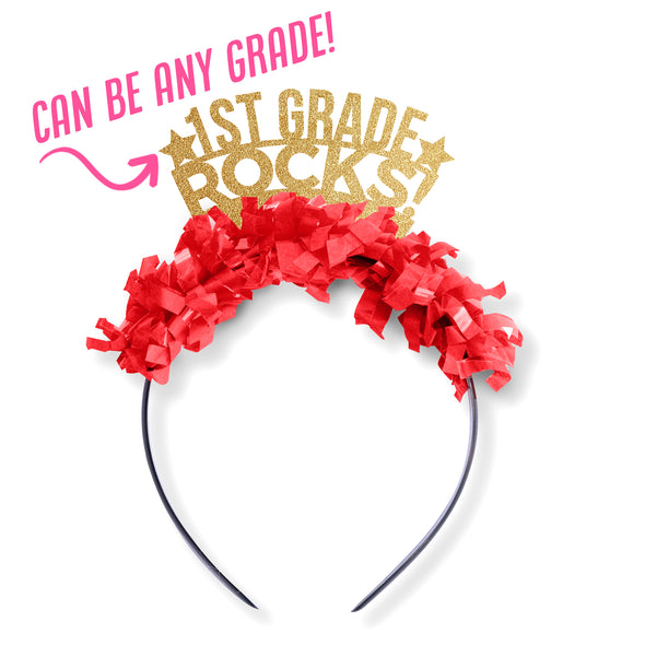 "Gold glitter and red fringe party crown saying ""1st Grade Rocks!"" with two stars. Can be any grade."